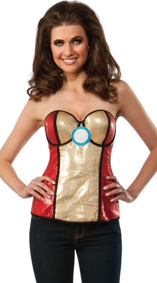 Sequin Power Iron Man Bustier, Sexy Iron Man Corset Top, Sequin Iron Man Corset Costume Top