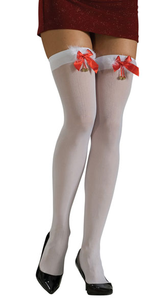 White Thigh Highs With Marabou, Thigh High Stockings