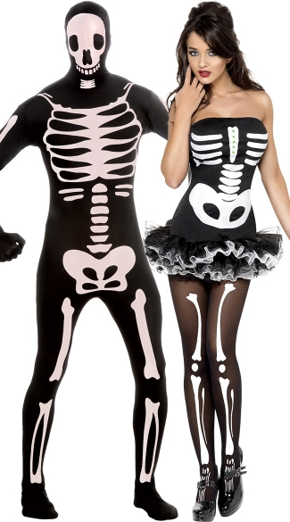 Nothing But Bones Couples Costume, Scary Skeleton Couples Costume, Couples Skeleton Costume, Fever Skeleton Couples Costume