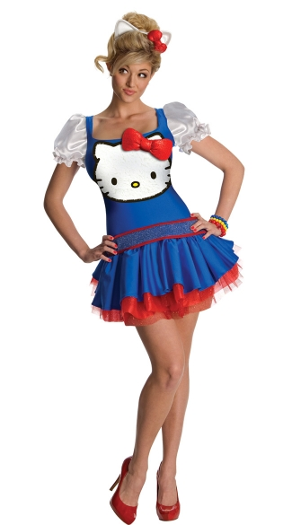 Classic Blue Hello Kitty Costume, Classic Hello Kitty Dress and Headband, Sexy Hello Kitty Blue Dress