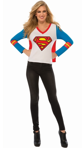 Supergirl Costume T-Shirt, Supergirl Sport Tee, Superman Shirt with Cape, Sexy Superman Shirt