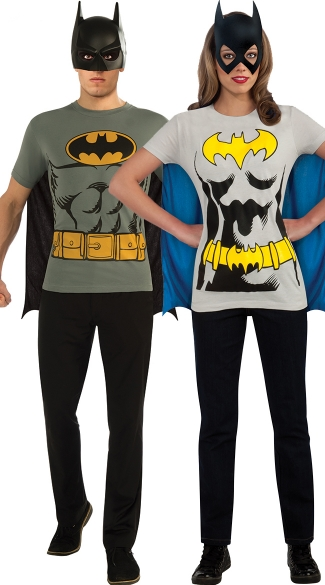 Retro Batman T Shirt Couples Costume Men\'s Batman T-shirt Costume, Batgirl Costume T-Shirt, Homemade Costume Ideas For Halloween, Batman Costume Ideas