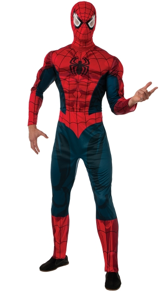 Adult Deluxe Spiderman Costume, Officially Licensed Spiderman Costume, Foam Padding Spiderman Costume
