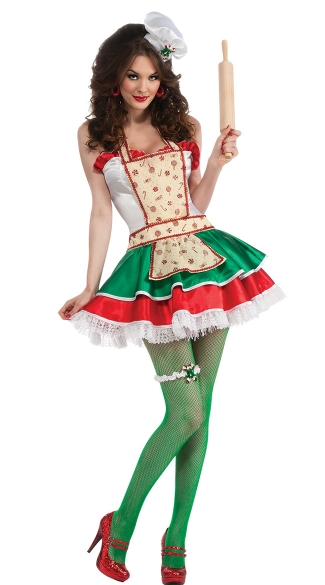Ginger Sweetie Costume, Sexy Christmas Cookie Maker Costume, Sexy Christmas Costume