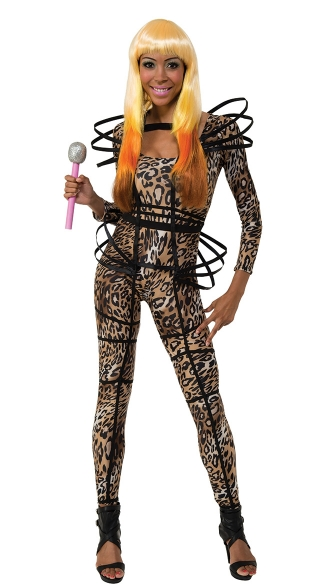 Nicki Leopard Catsuit, Nicki Pop Star Leopard Catsuit and Cage, Nicki Pop Star Jumpsuit