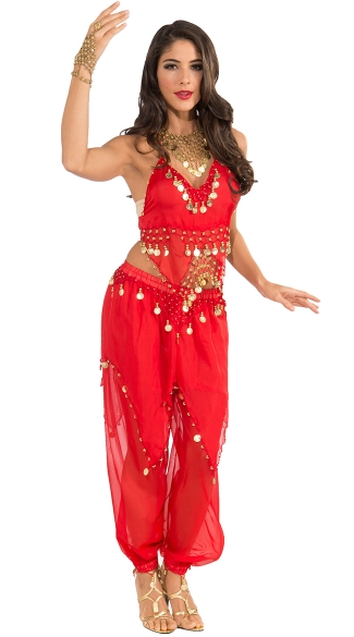 Red Belly Dancer Costume, Red Harem Girl Costume