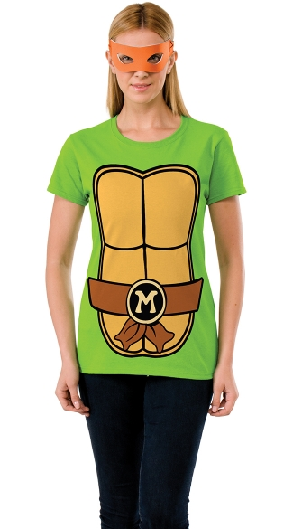 Teenage Mutant Ninja Turtle T-Shirt Costume, Mutant Turtle Costume T-Shirt, Orange Mask Ninja Turtle Costume