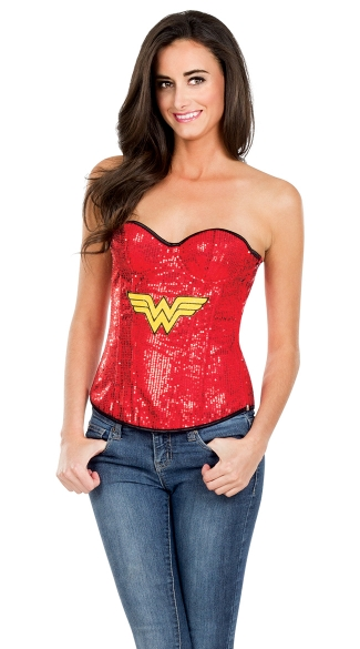 Sequin Wonder Woman Corset, Wonder Woman Costume Corset