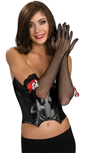Day Of The Dead Fishnet Gloves