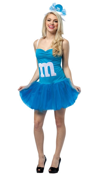Blue M&M Party Dress Costume, Blue M&M Costume, Womens Blue M and M Costume