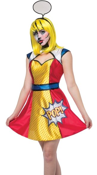 Pop Art Girl Costume, Womens Pop Art Costume, Female Comic Book Costume