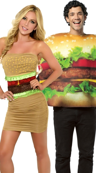 Triple Patty Deluxe Couples Costume, Mens Cheeseburger Costume, Mens Food Halloween Costume, Sexy Hamburger Costume, Fast Food Costume
