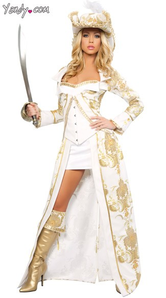 Deluxe Pirate Queen Costume, White Pirate Costume, Fancy Pirate Costume