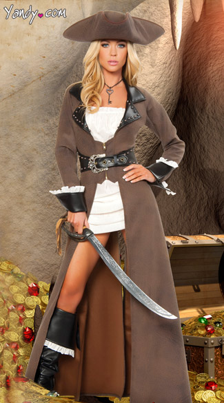 Deluxe Pirate Captain Costume, Brown Pirate Costume, Long Pirate Costume