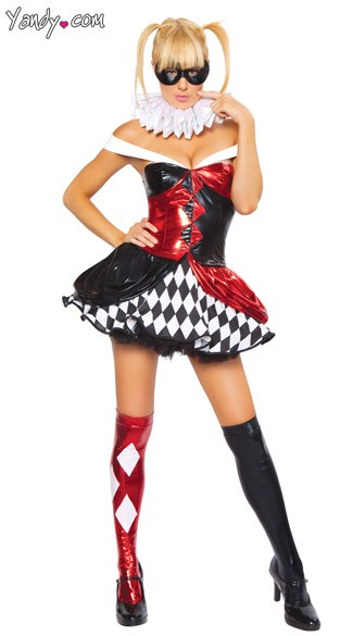 Sexy Circus Clown Costume, Sexy Jester Costume, Sexy Clown Halloween Costume, Adult Clown Halloween Costume