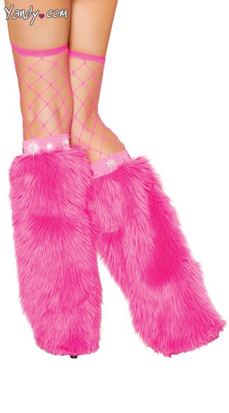 Shimmering Furry Leg Warmers WIth Rhinestone Studs