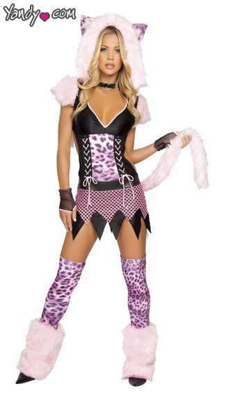 Naughty Pussycat Costume, Pink Pussycat Girl Costume, Halloween Pussycat Costume