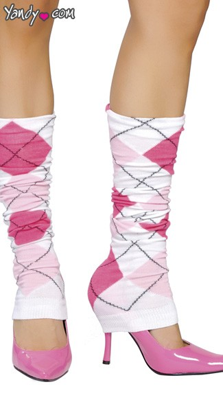 Pink and White Argyle Leg Warmer, Pink Argyle Leg Warmer, Pink and White Leg Warmer