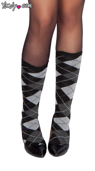 Grey Argyle Stockings, Grey and Black Argyle Stockings, Argyle Knee Highs