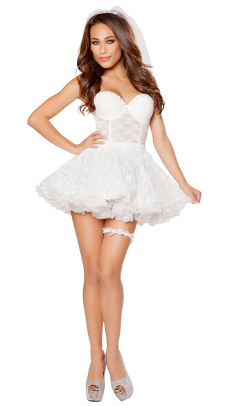 Bridal babe costume sexy bride costume lace bride costume for Sexy wedding dress costume