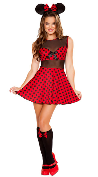 Cute Miss Mouse Costume, Sexy Mouse Costume, Polka Dot Mouse Costume