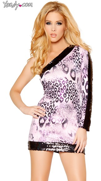 Wild Animal Single Shoulder Sequin Dress