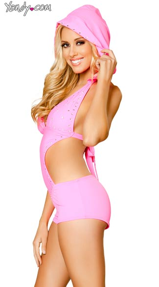 Pink Rhinestone Studded Romper with Detachable Hood