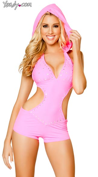 Rhinestone Studded Romper with Detachable Hood, Pink Romper, Hooded Romper