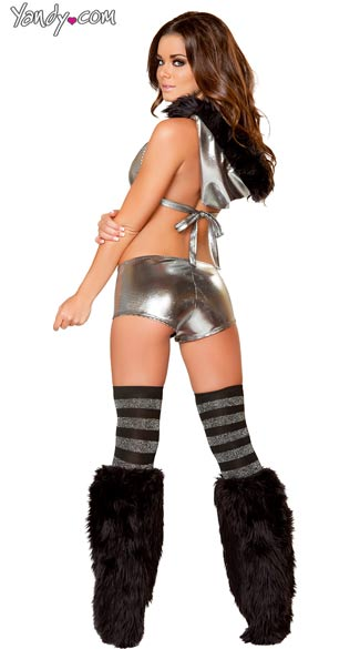 Metallic Romper with Fur Trimmed Hood
