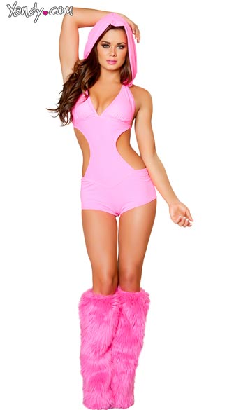 Sexy Spandex Romper with Detachable Hood