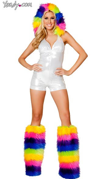 Metallic White Romper with Fur Trimmed Hood