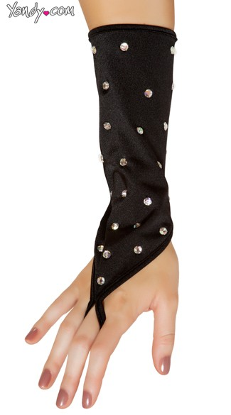 Rhinestone Studded Gloves, Fingerless Gloves with Rhinestones