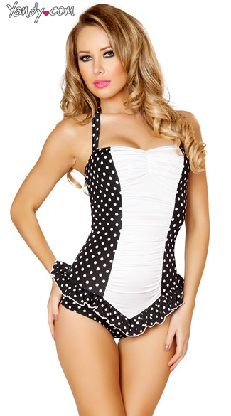 Black and White Scrunched Front Pinup Bodysuit