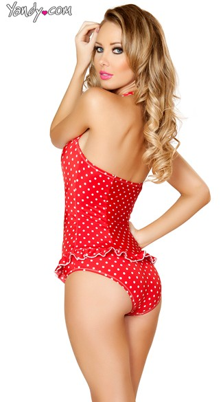 Red and White Scrunched Front Pinup Bodysuit
