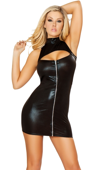 Metallic Front Zip Bodycon Dress