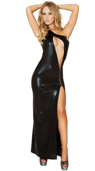 Wet Look Cut Out Floor Length Gown