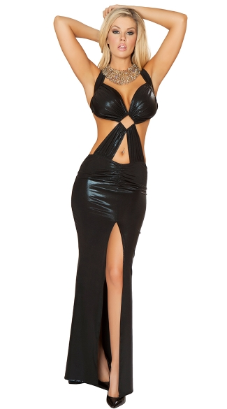 Wet Look Gown with Bra Top And Thigh High Slit
