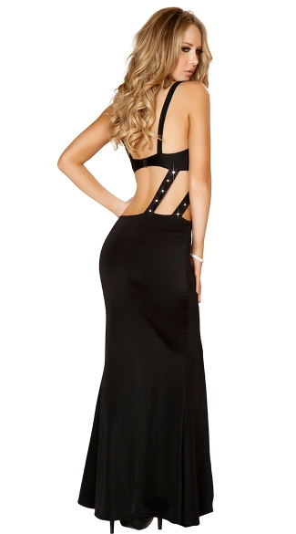 Two Piece Rhinestone Studded Maxi Dress