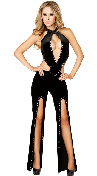 Rhinestone Studded Jumpsuit With Cutouts, Black Wide Leg Jumpsuit, Party Jumpsuits