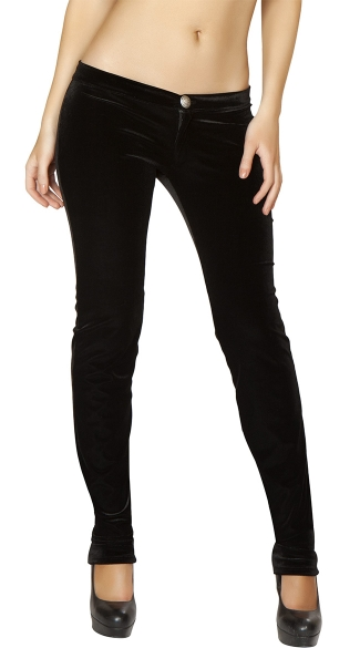 Slim Fit Single Button Velvet Pant, Boot Cut Dress Pant, Pants For Women