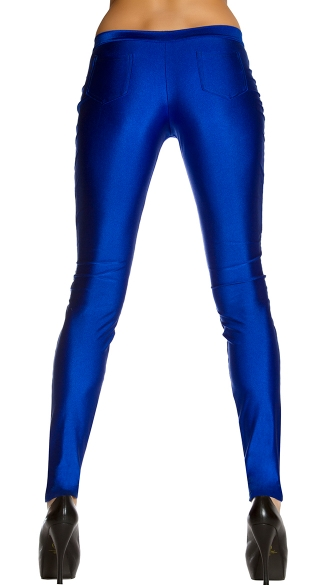 Shiny Skinny Pant With Single Button
