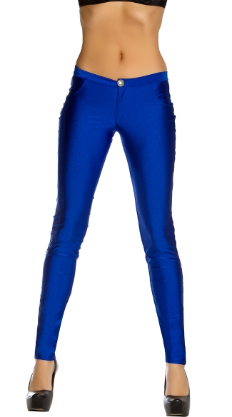 Shiny Skinny Pant With Single Button, Dress Pants For Women, Skinny Pants For Women