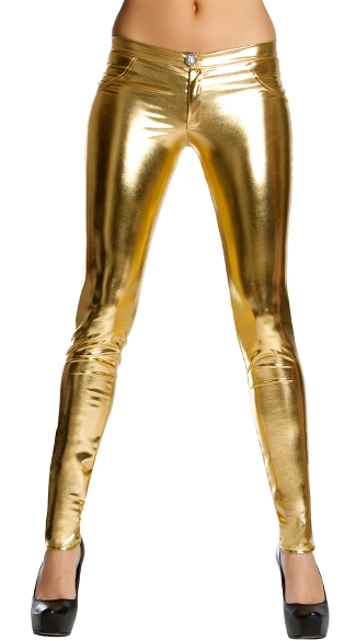 Metallic Skinny Pant With Button And Pocket Details, Metallic Hot Pants, Cheap Skinny Pants
