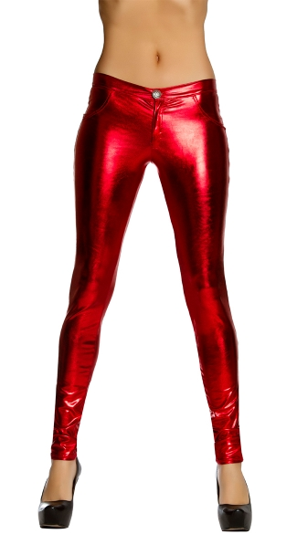 Metallic Skinny Pant With Button And Pocket Details