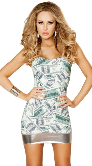 Dollar Bill Strapless Tube Dress, Cheap Party Dress, Sexy Mini Dresses
