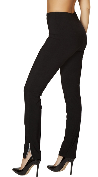 Black Double Zip High-Rise Pants