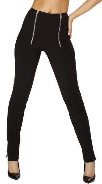 Black Double Zip High-Rise Pants, High Waisted Skinny Pants, Side Zipper Pants