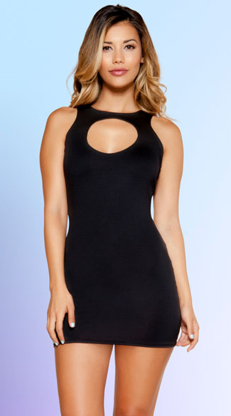 Black Racerback Mini Dress, Black High Neck Dress, Black Mini Dress
