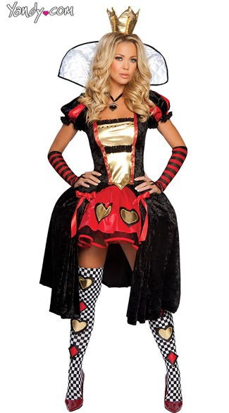 Wicked Wonderland Queen Costume, Alice in Wonderland Queen Costume, Queen of Hearts Halloween Costume