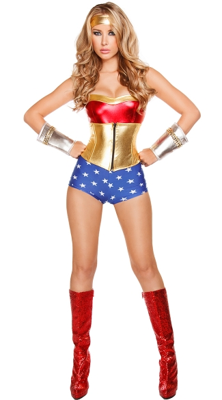 Adult Wonderful Hero Costume, Sassy Wonder Girl Costume, Comic Book Halloween Costume, Adult Heroine Costume